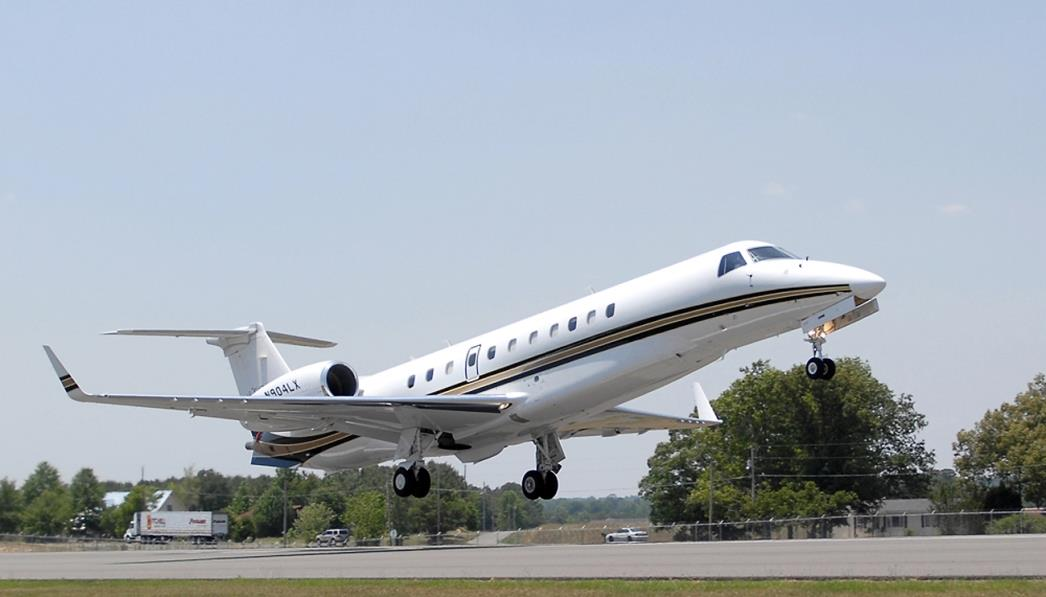 Jet taking flight at the Albertville Regional Airport