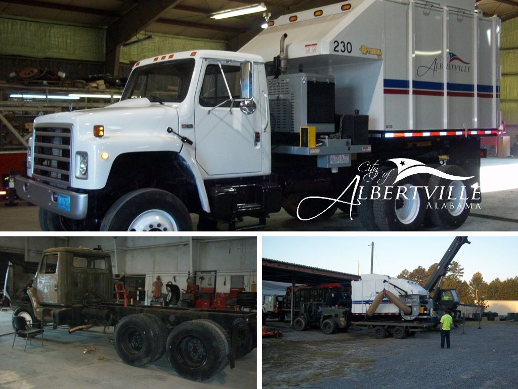 A collage of City public service vehicles undergoing maintenance