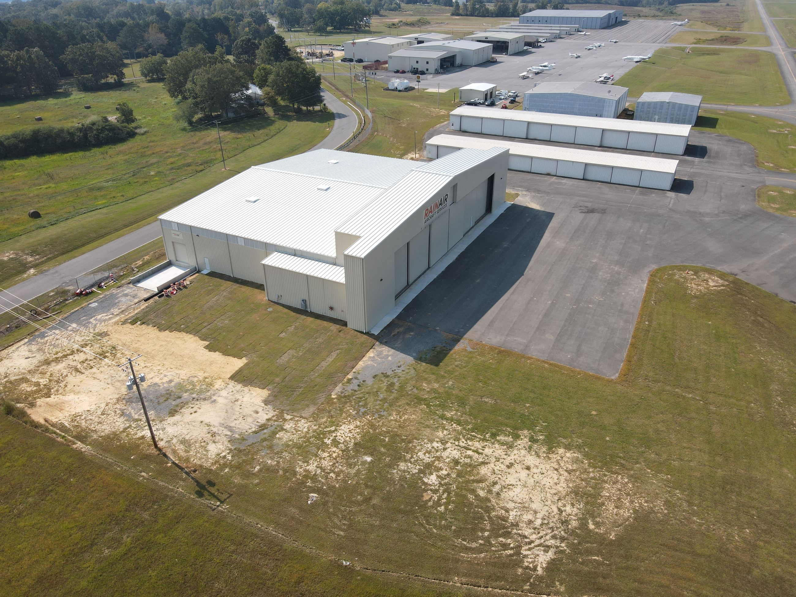 Aerial Photo of new military aircraft hangar at Albertville Regional Airport